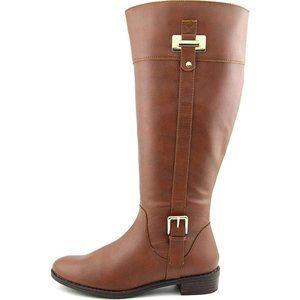 KAREN SCOTT Deliee Cognac Wide Calf Riding Boots